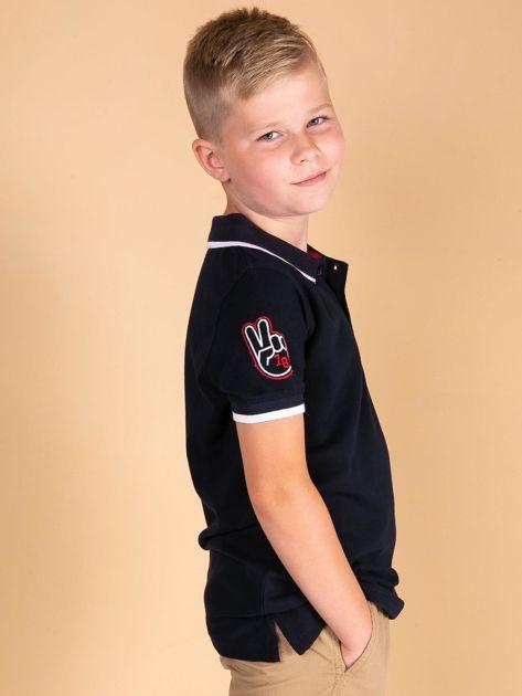 TOMMY LIFE Granatowa chłopięca koszulka polo
