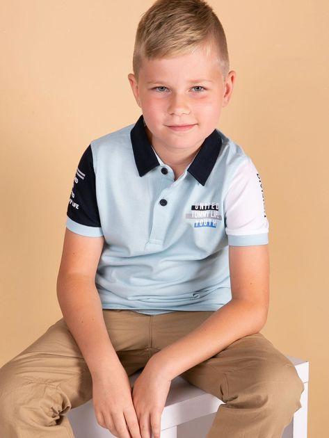 TOMMY LIFE Jasnoniebieska bawełniana koszulka polo dla chłopca