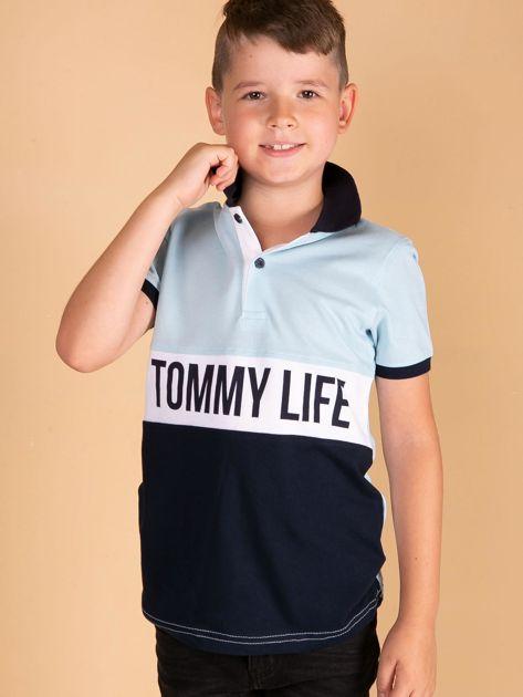TOMMY LIFE Jasnoniebieska koszulka polo dla chłopca