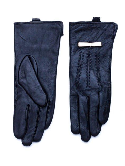 TRENDY Czarne ocieplane skórzane rękawiczki z kokardą