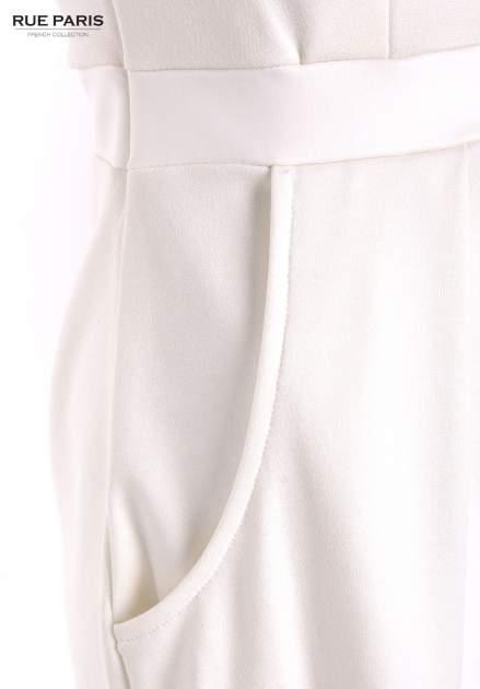 Tulipanowa sukienka z łączonych materiałów w kolorze ecru                                  zdj.                                  2
