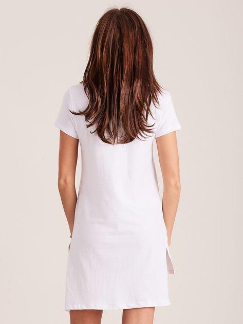 Tunika bawełniana biała z okrągłym nadrukiem                                  zdj.                                  3