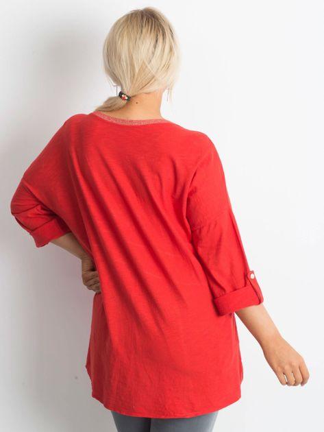 Tunika plus size z nadrukiem czerwona                              zdj.                              2
