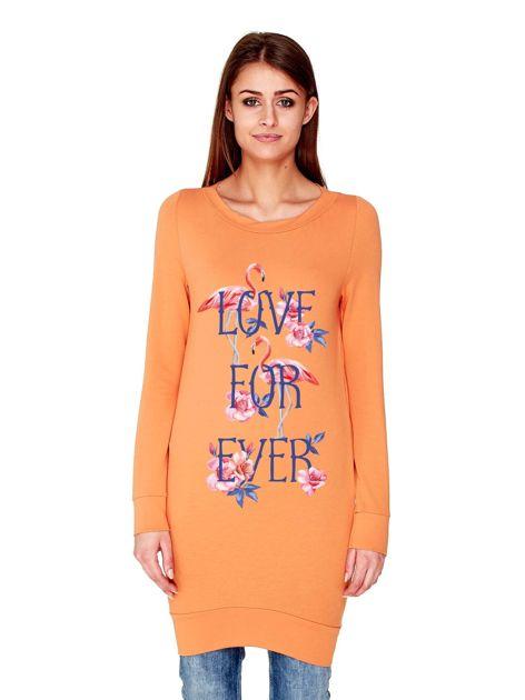 Tunika we flamingi z napisem LOVE FOR EVER jasnopomarańczowa
