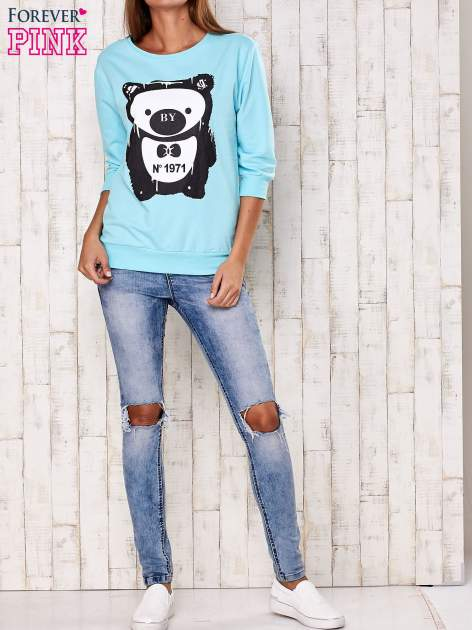 Turkusowa bluza z nadrukiem pandy                                  zdj.                                  2