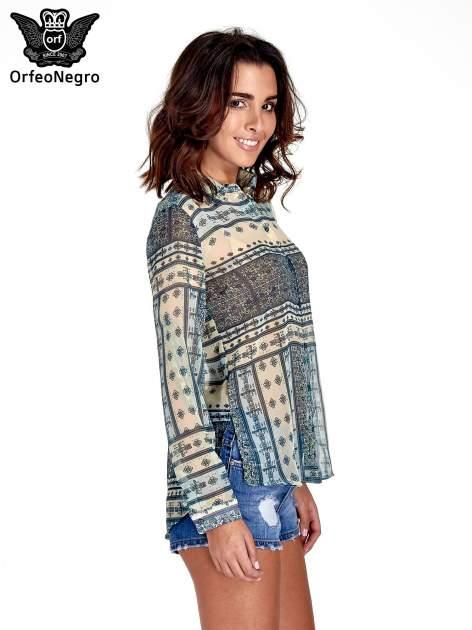 Turkusowa koszula we wzory w stylu etno                                  zdj.                                  3