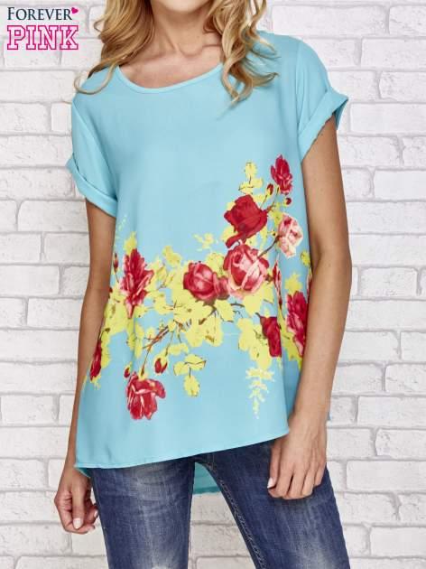 Turkusowa koszula z motywem kwiatów                                  zdj.                                  1