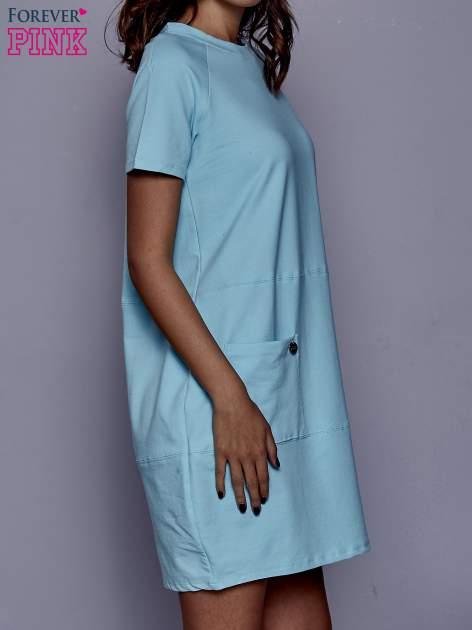 Turkusowa sukienka dresowa z kieszenią z boku                                  zdj.                                  3