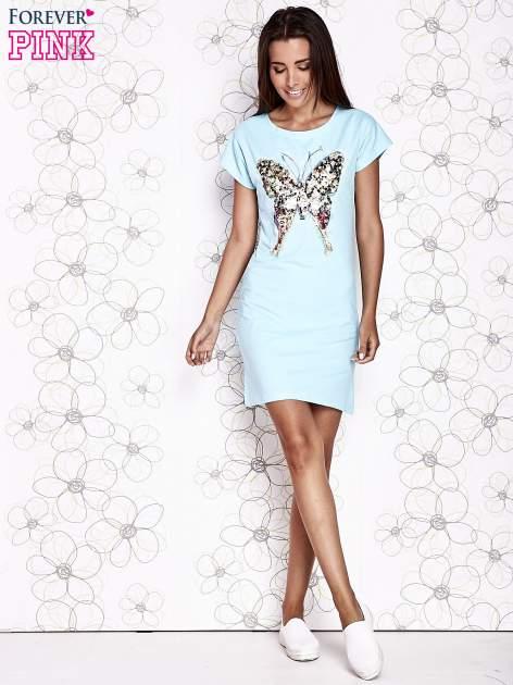 Turkusowa sukienka z cekinowym motylem                                  zdj.                                  2