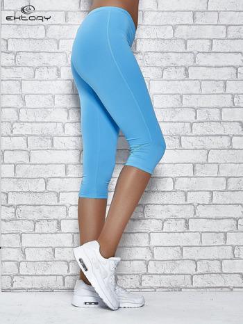 Turkusowe legginsy sportowe termalne z dżetami na nogawkach                                  zdj.                                  3