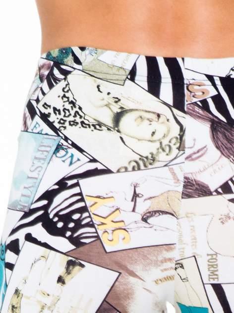Turkusowe legginsy z nadrukiem magazines print                                  zdj.                                  7
