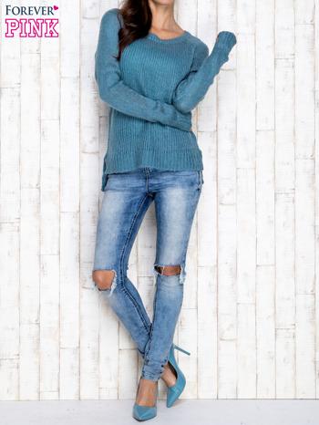 Turkusowy dzianinowy sweter o szerokim splocie                                  zdj.                                  2