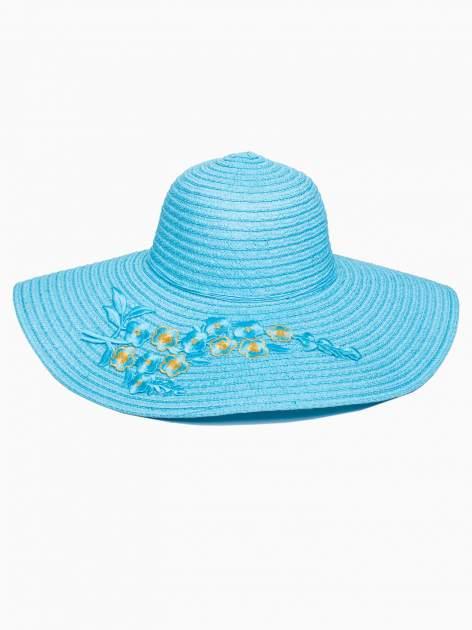 Turkusowy kapelusz słomiany z dużym rondem i kwiatkami                                  zdj.                                  2