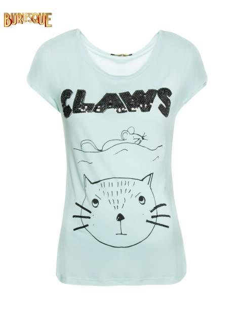 Turkusowy t-shirt z nadrukiem kota i myszy