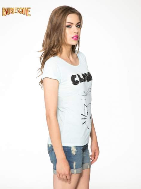 Turkusowy t-shirt z nadrukiem kota i myszy                                  zdj.                                  8