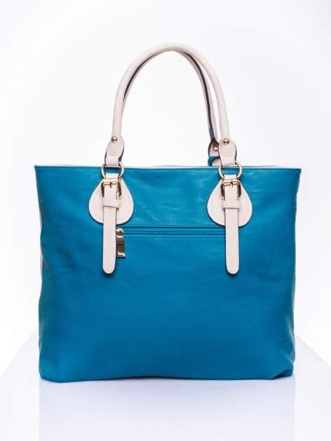 Wężowa torba shopper z niebieską wstawką                                  zdj.                                  3