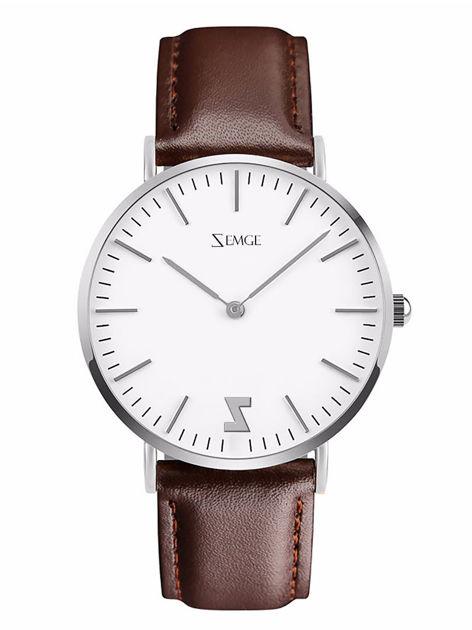ZEMGE Zegarek damski srebrny na skórzanym brązowym pasku Eleganckie pudełko prezentowe w komplecie                              zdj.                              1