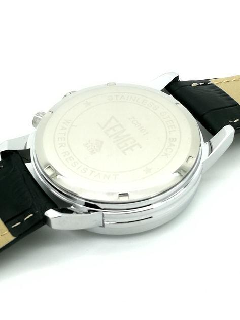 ZEMGE Zegarek unisex czarny na skórzanym czarnym pasku Eleganckie pudełko prezentowe w komplecie                              zdj.                              7