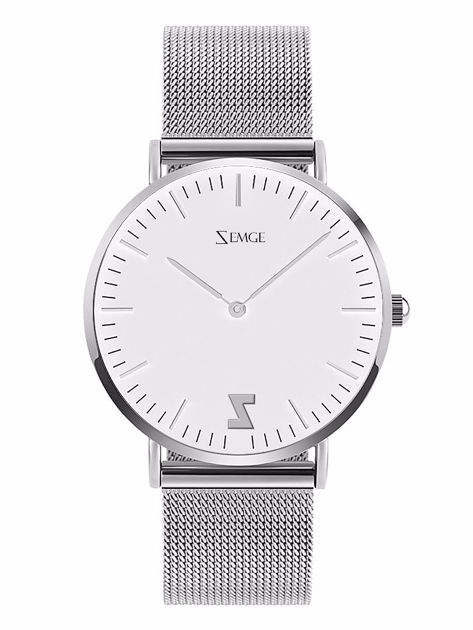ZEMGE Zegarek unisex srebrny na bransolecie typu MESH Eleganckie pudełko prezentowe w komplecie                              zdj.                              1
