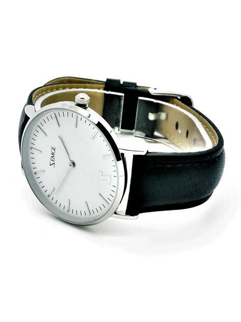 ZEMGE Zegarek unisex srebrny na skórzanym czarnym pasku Eleganckie pudełko prezentowe w komplecie                              zdj.                              3