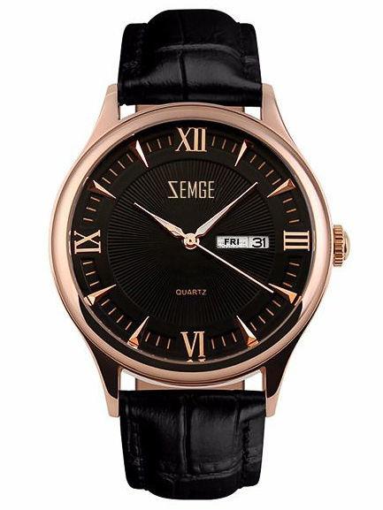 ZEMGE Zegarek unisex złoto-czarny na skórzanym czarnym pasku Eleganckie pudełko prezentowe w komplecie                              zdj.                              1