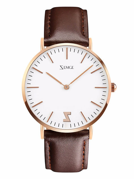 ZEMGE Zegarek unisex złoty na skórzanym brązowym pasku Eleganckie pudełko prezentowe w komplecie                              zdj.                              1