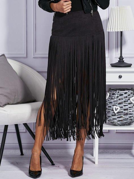Zamszowa midi spódnica boho z frędzlami czarna                              zdj.                              1