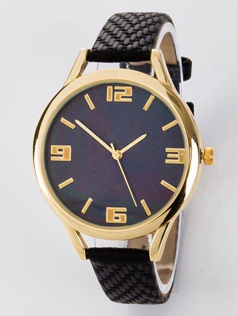 Zegarek damski czarny z perłową tarczą                              zdj.                              1