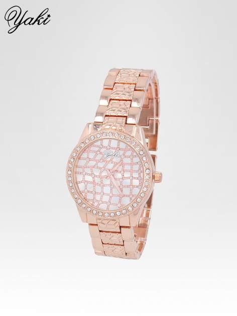 Zegarek damski na bransolecie z cyrkoniową kopertą z różowego złota                                  zdj.                                  2