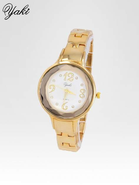 Zegarek damski na bransolecie z okrągłą kopertą z cyrkoniami w kolorze złota                                  zdj.                                  2