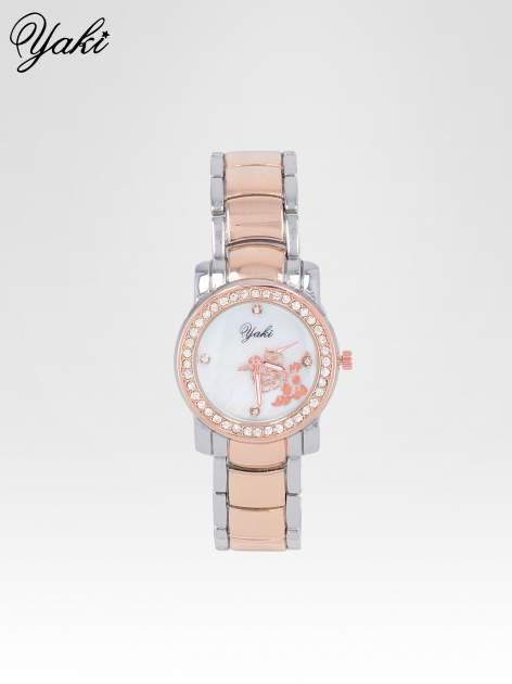 Zegarek damski z grawerem kwiatów z różowego złota