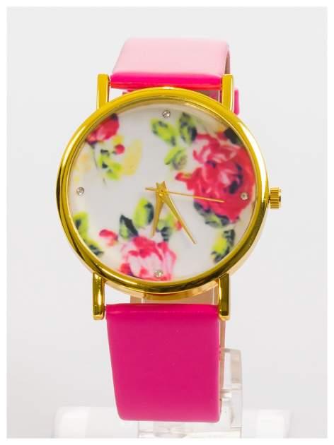 Zegarek damski z kwiatami na tarczy i cyrkoniami