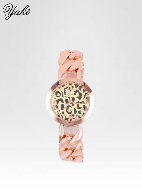 Zegarek damski z motywem leopard print na bransolecie z różowego złota