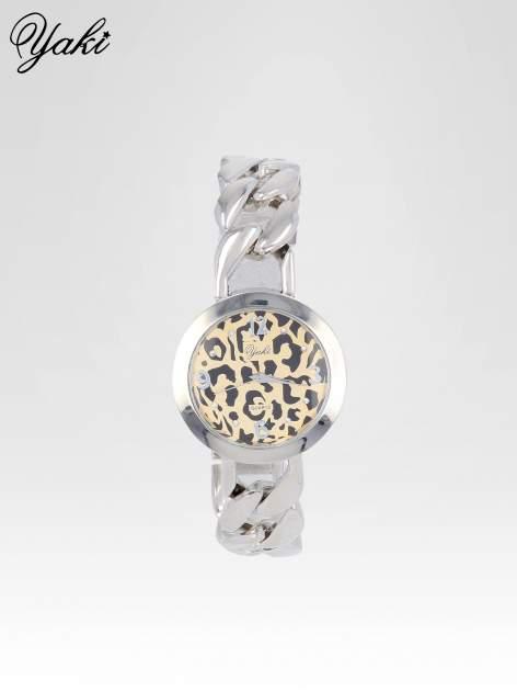 Zegarek damski z motywem leopard print na bransolecie ze srebra                                  zdj.                                  1
