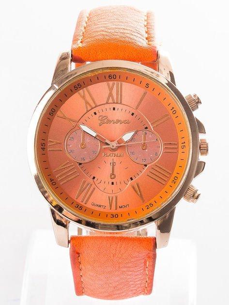 Zegarek damski z ozdobnym chronografem pomarańczowy