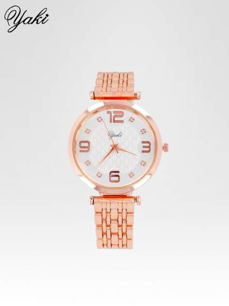 Zegarek damski z różowego złota na bransolecie z dużą białą tarczą