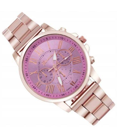 Zegarek damski złoty na bransolecie z różową tarczą                               zdj.                              1
