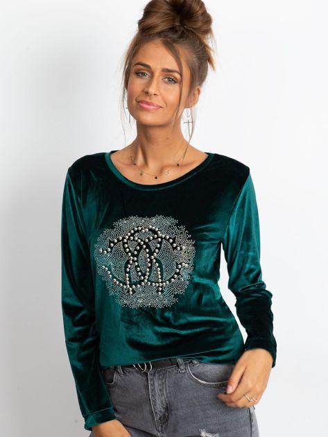 Zielona aksamitna bluza damska z aplikacją                              zdj.                              1