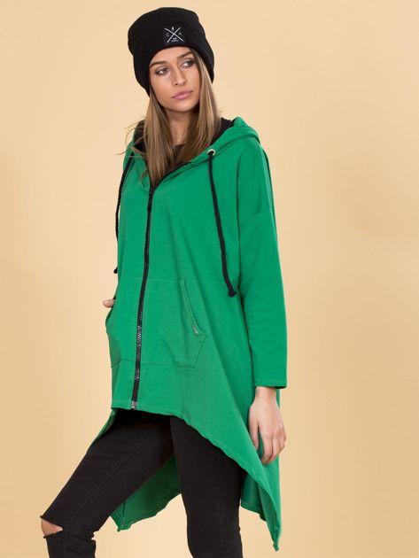 Zielona asymetryczna bluza dresowa z kapturem                              zdj.                              3