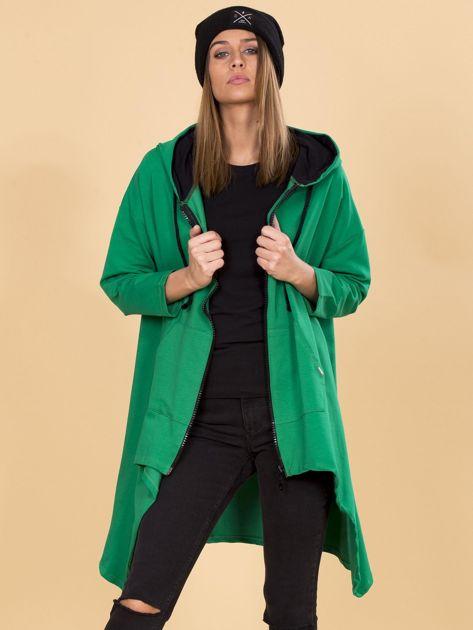 Zielona asymetryczna bluza dresowa z kapturem                              zdj.                              5