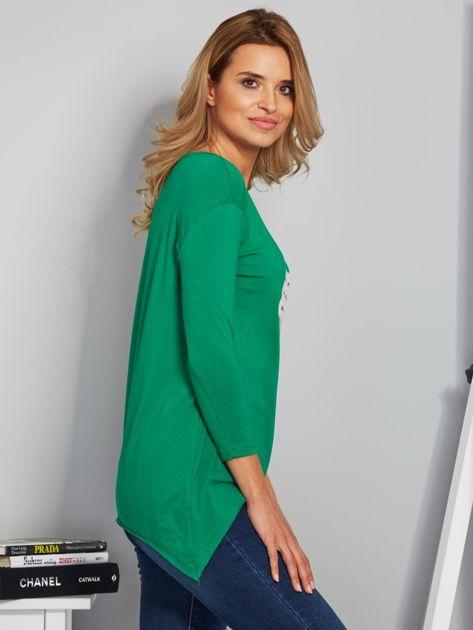 Zielona asymetryczna bluzka z babeczką                                  zdj.                                  3