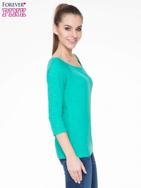 Zielona basicowa gładka bluzka z rękawem 7/8                                  zdj.                                  3