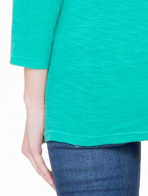 Zielona basicowa gładka bluzka z rękawem 7/8                                  zdj.                                  5