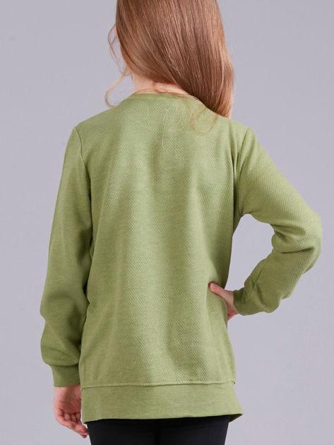 Zielona bluza dziewczęca z aplikacją                              zdj.                              2