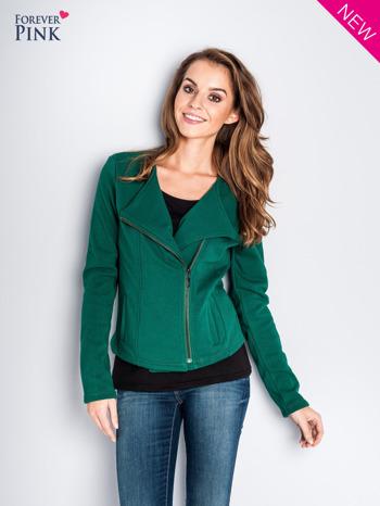 Zielona bluza o kroju ramoneski z asymetrycznym suwakiem