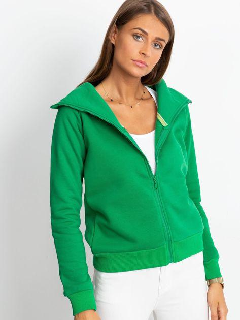 Zielona bluza z miękkim kołnierzem                              zdj.                              3