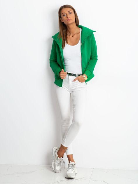 Zielona bluza z miękkim kołnierzem                              zdj.                              4