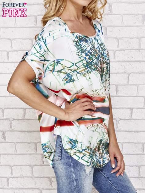Zielona bluzka koszulowa z abstrakcyjnym nadrukiem                                  zdj.                                  3