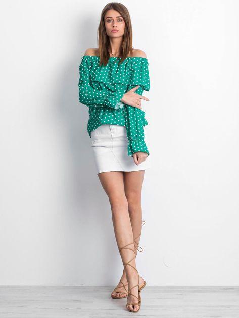 Zielona bluzka w grochy z hiszpańskim dekoltem                              zdj.                              4