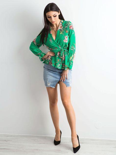 Zielona bluzka w kwiaty z falbaną                              zdj.                              4